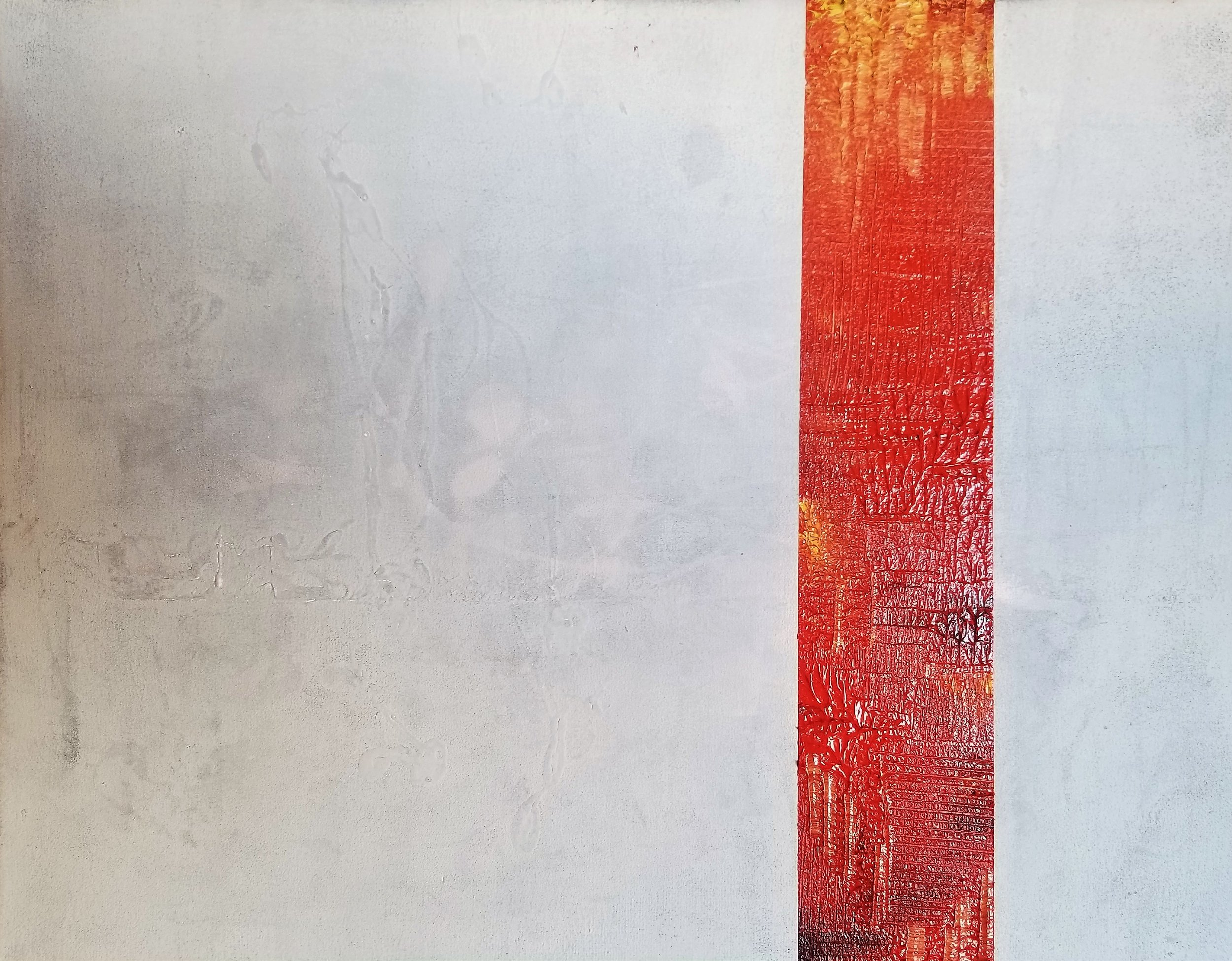 Red Strip on White Untitled 4, 2018