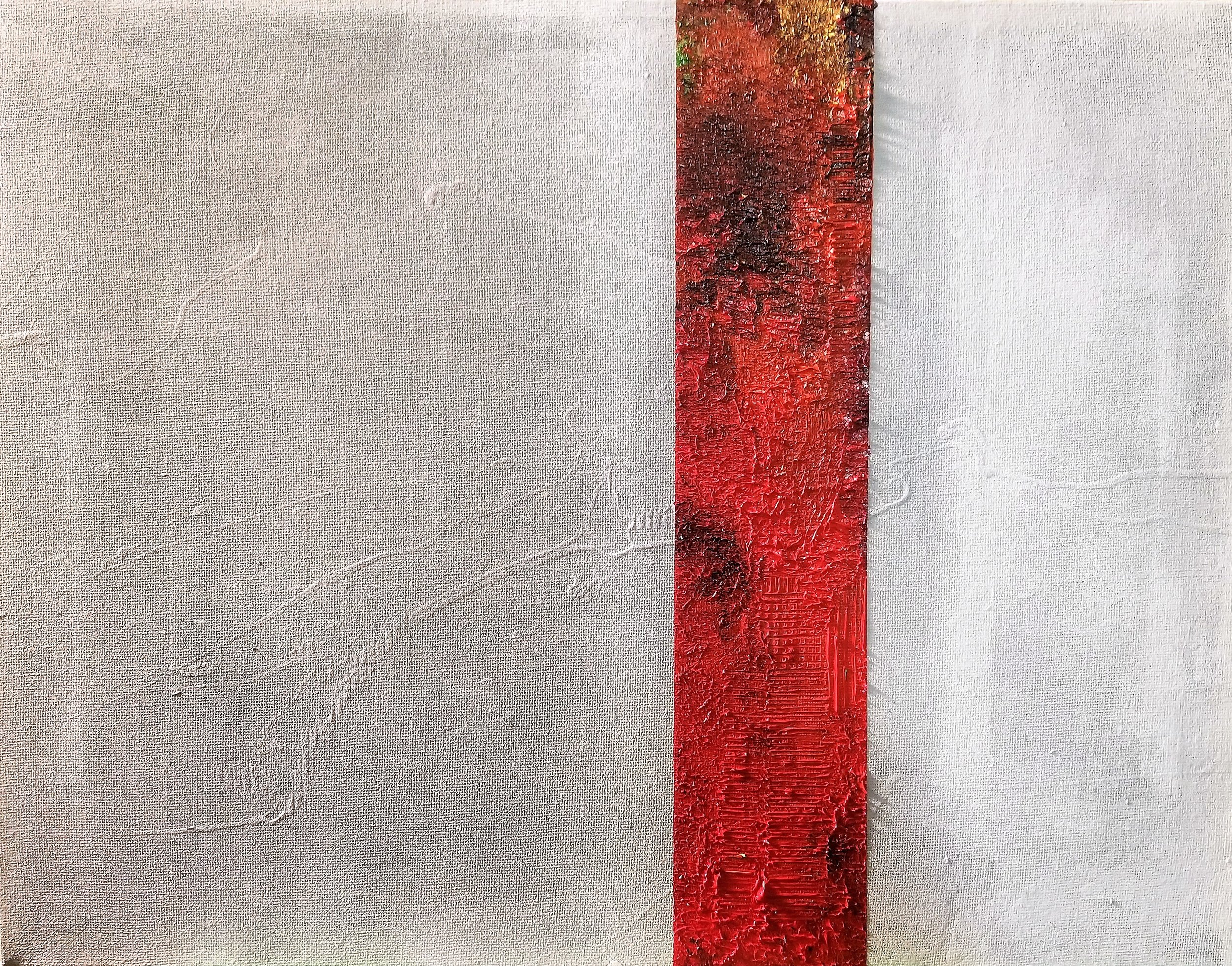 Red Strip on White Untitled 5, 2018