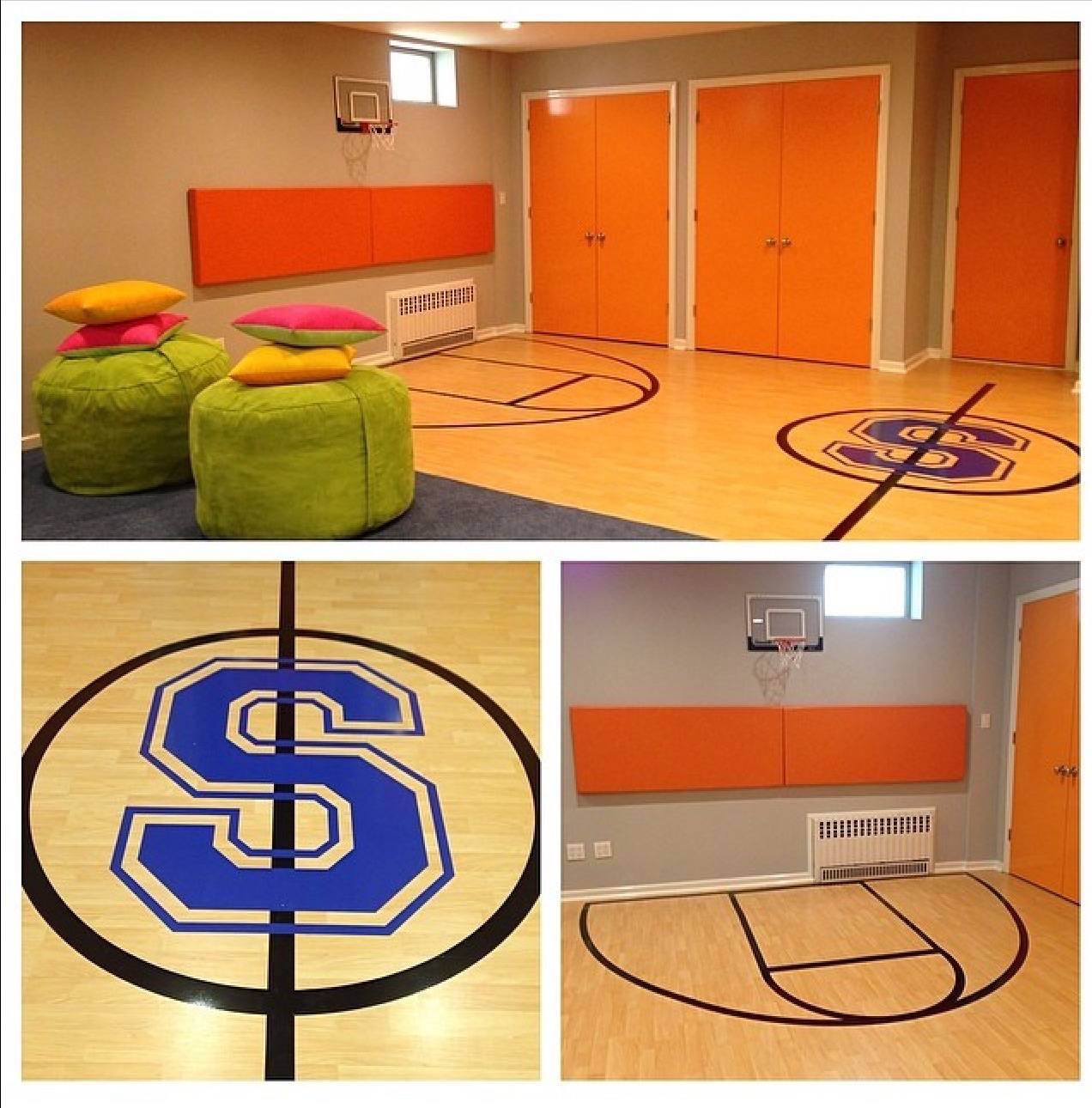 An amazing basketball ready basement. Decals, wood flooring, padded walls. No job too big for LMO...