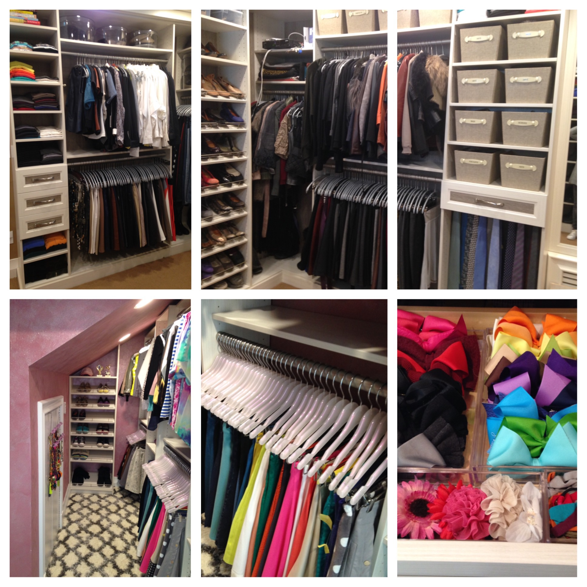 Above: Closet organizing done to perfection. Different hangers for different uses all chosen and ordered by LMO.