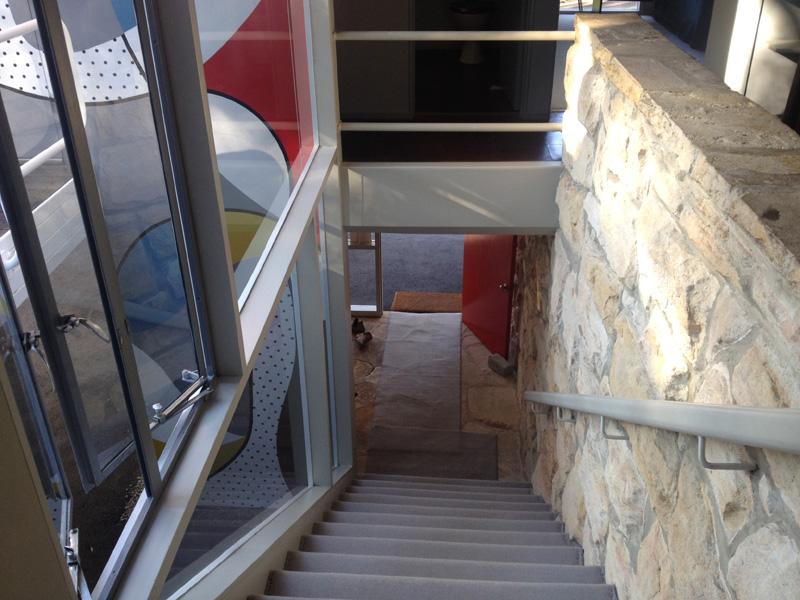 Internal stairs to front door