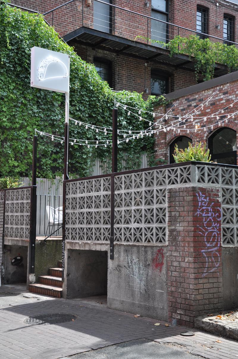 Breeze block patio at Tacofino, Trounce Alley, Gastown