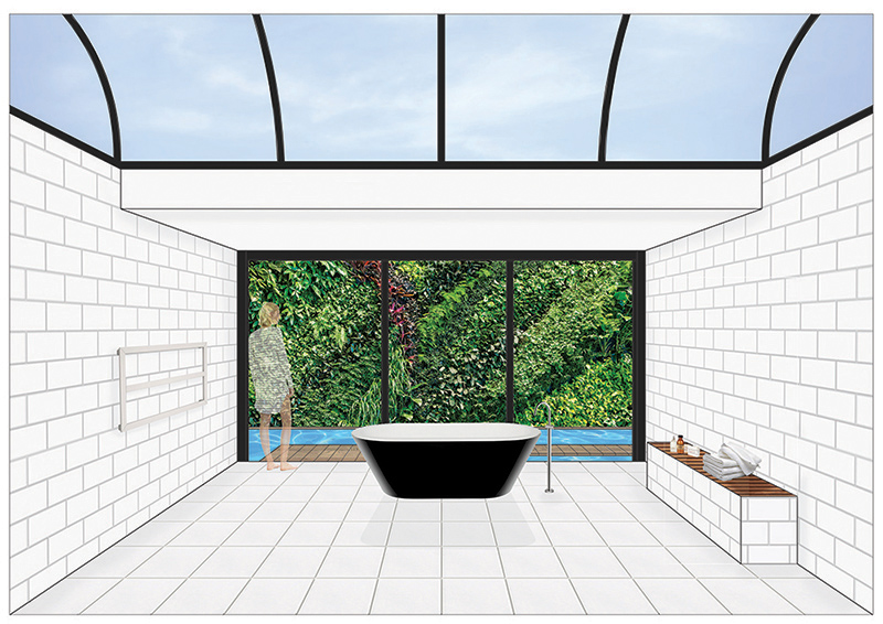 Perspective view showing bathtub with a view to the lap pool and vertical garden beyond: imported from AutoCAD and rendered in PhotoShop.