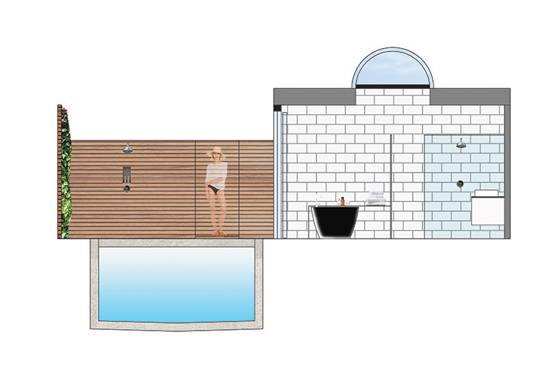 Elevation through exterior garden area and spa bathroom: imported from AutoCAD and rendered in PhotoShop.