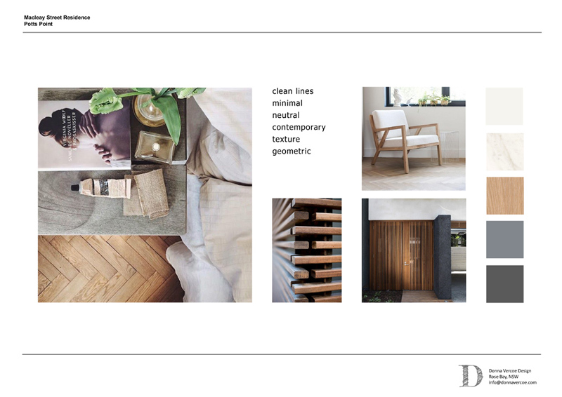 Concept board for Potts Point, including material and colour palette