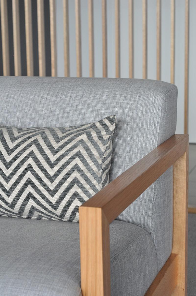 Arthur G. armchair detail, complete with custom cushion.