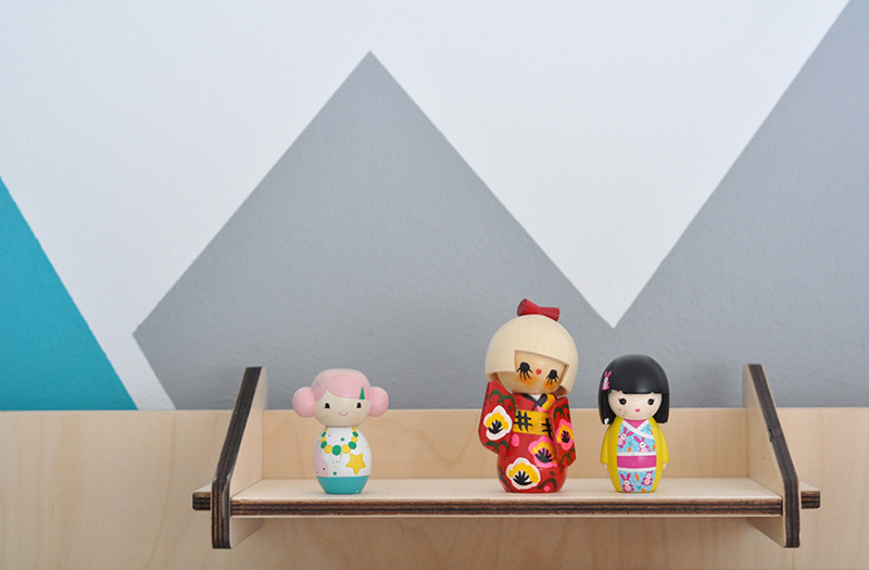 Sweet wooden Japanese doll collection