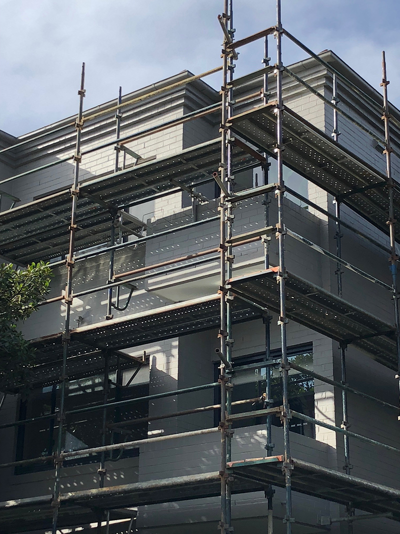 Construction Phase: under scaffolding for painting