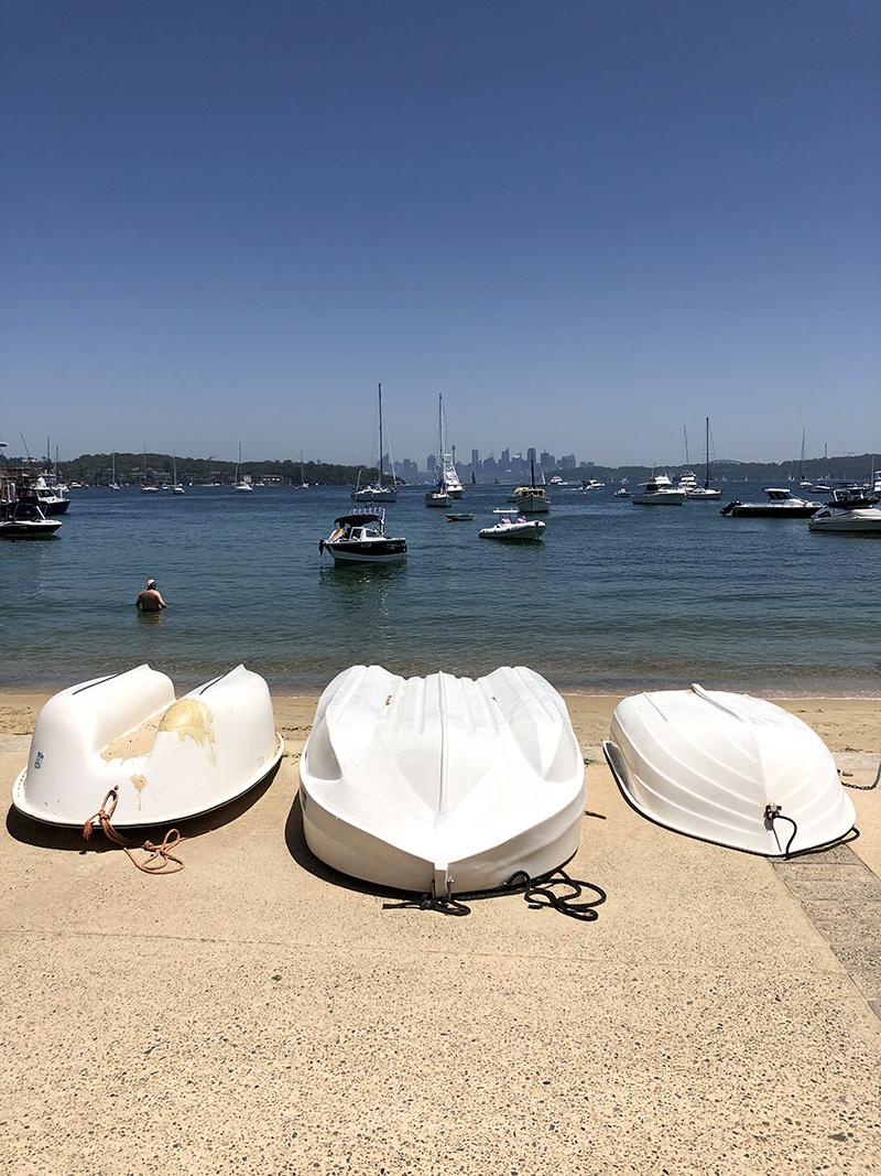 Rowboats dot the footpath at Watson's Bay