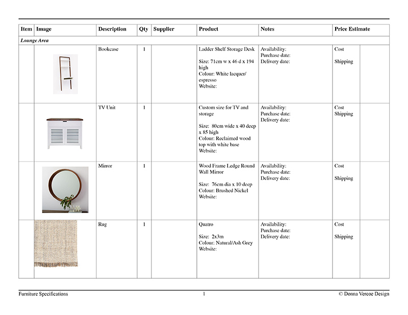 Furniture specification