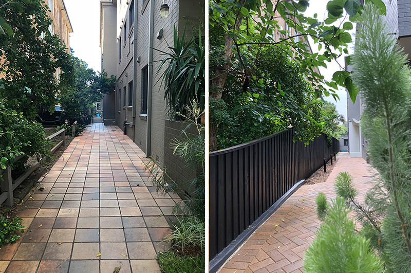 Entrance Pathway                  Before and after… new 1800mm fence stained in Dulux Intergrain Ebony, bricks by Austral Bricks in London Maple.