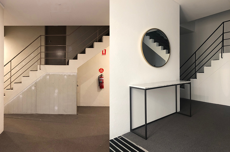 Lobby                  Before and after… Dulux Lexicon Quarter on the walls, Dulux Black Caviar on the handrails, new carpet from Godfrey Hirst, entrance mat from Classic Architectural Group, marble console and mirror from West Elm.