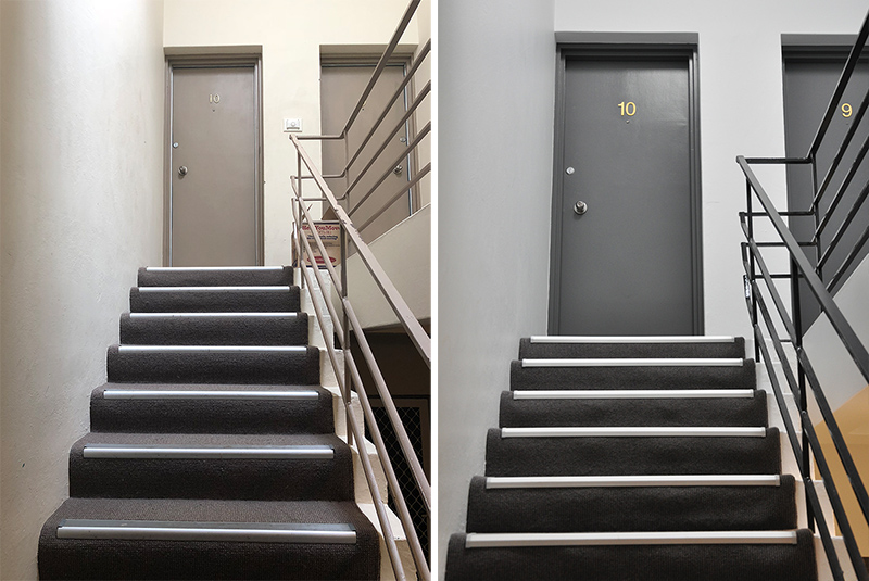 Interior Stairwells                  Before and after… colour specification by Donna Vercoe Design. Dulux Lexicon Quarter on the walls, Dulux Black Caviar on the handrails, Colorbond Basalt on the doors. New carpet by Godfrey Hirst. New satin brass signage from Sign Kingdom.