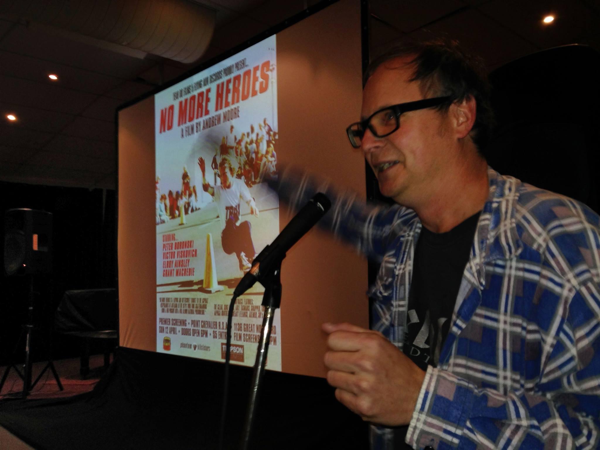 Andrew re-presenting seminal NZ Skate movie No More Heroes