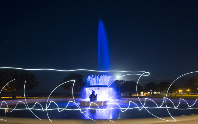 Mission Bay's fountain- with a bit of added i-phone light painting- had to get some waves in there somehow