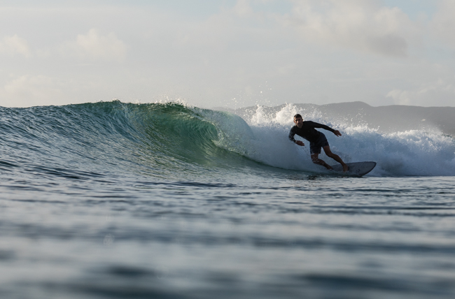 Paul laying it over on a Surfline 6'0 single fin