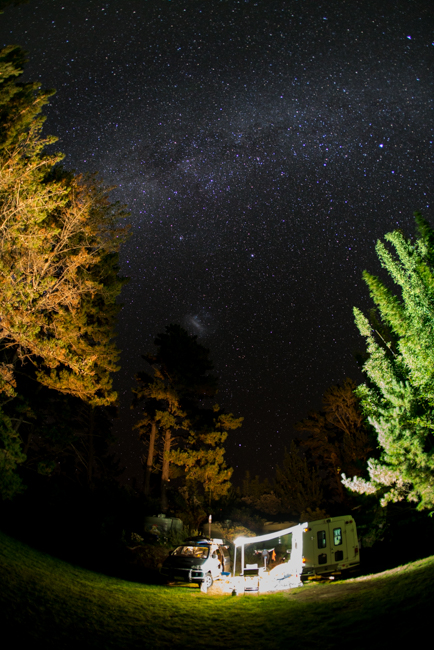 The camp set up under the Milky Way