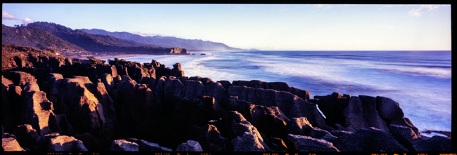 Punakaiki Rocks, West Coast. Shot on Velvia film with the Fotoman 617 Panoramic camera