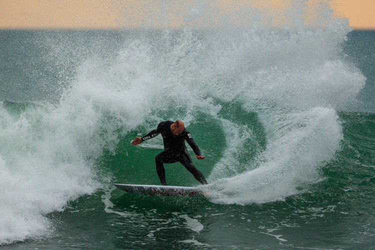 Luke Cederman last Thursday, just as the swell started to show