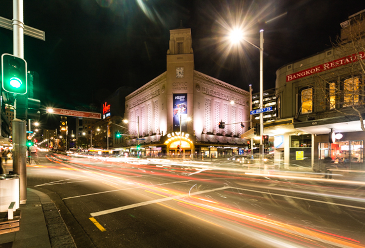 Auckland's Civic Theatre at night