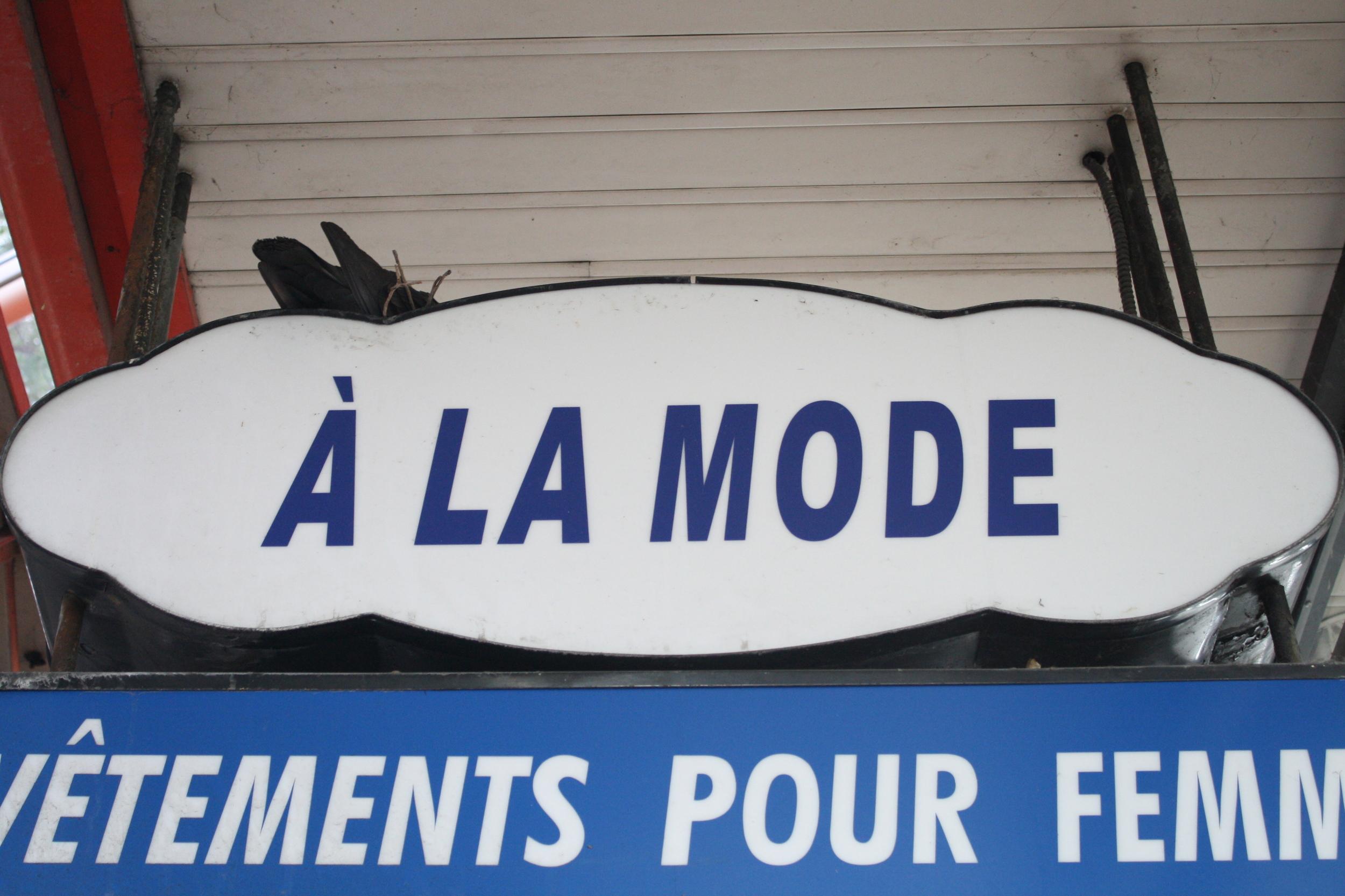 Roosting pigeons in rue St Hubert in Montreal.