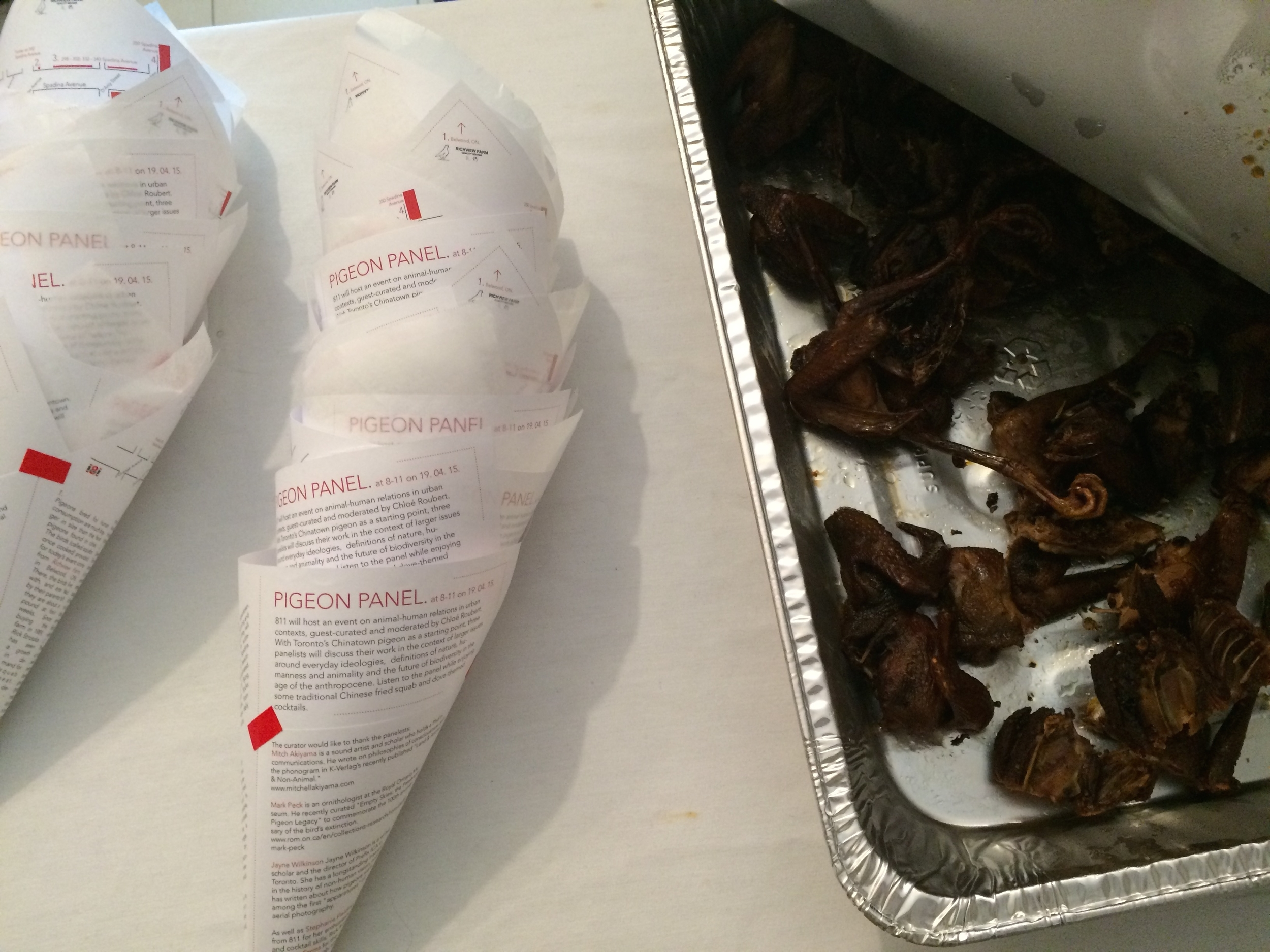 The participants could purchase Chinatown-made BBQ-ed pigeon in their 'pigeon cones.'
