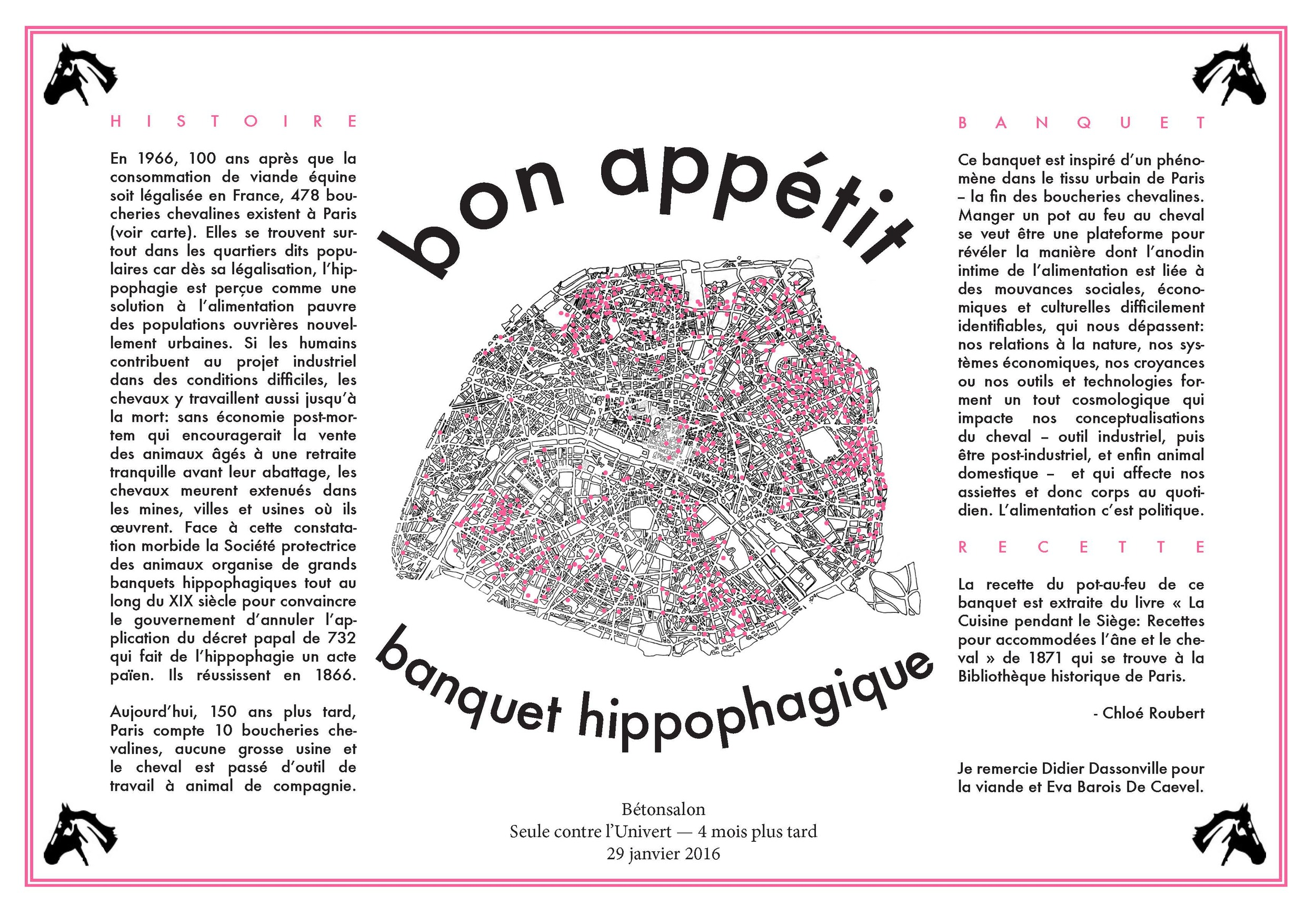 This placemat presents the location of horse butchers in Paris in 1966, 100 years after the legalisation of horse meat consumption.