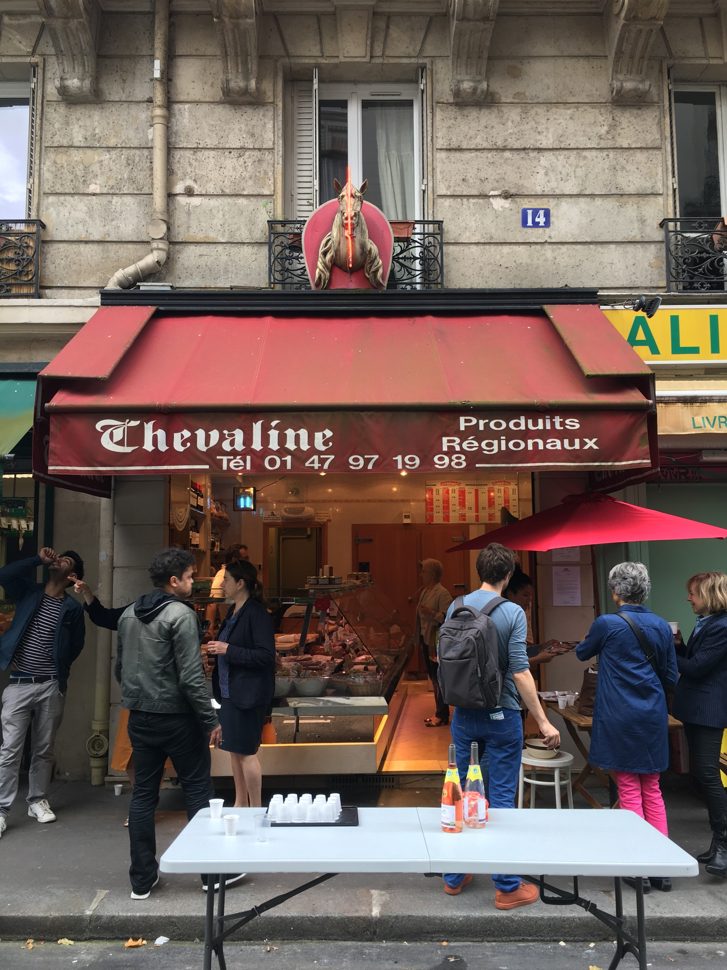Book launch at Didier Dassonville's butcher shop. It will close in September 2016, bringing the number of horse butchers in Paris down to 9.