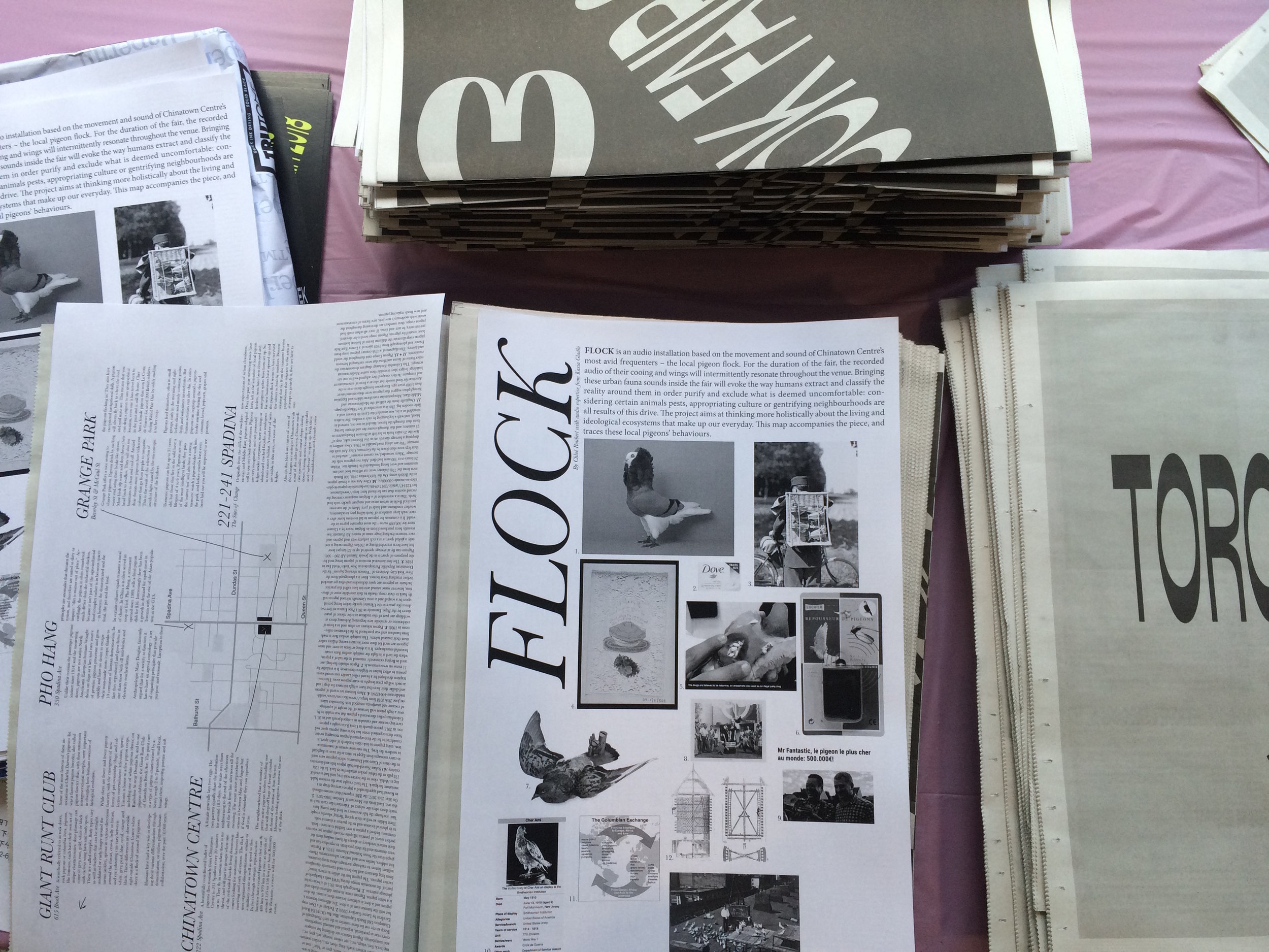 The leaflets with pigeon maps and contexts for the sound installation were placed in the Fair's free brochures.