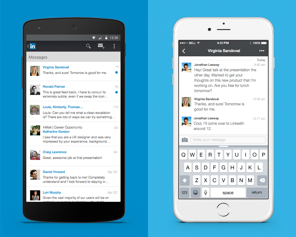The new LinkedIn messaging experience on mobile