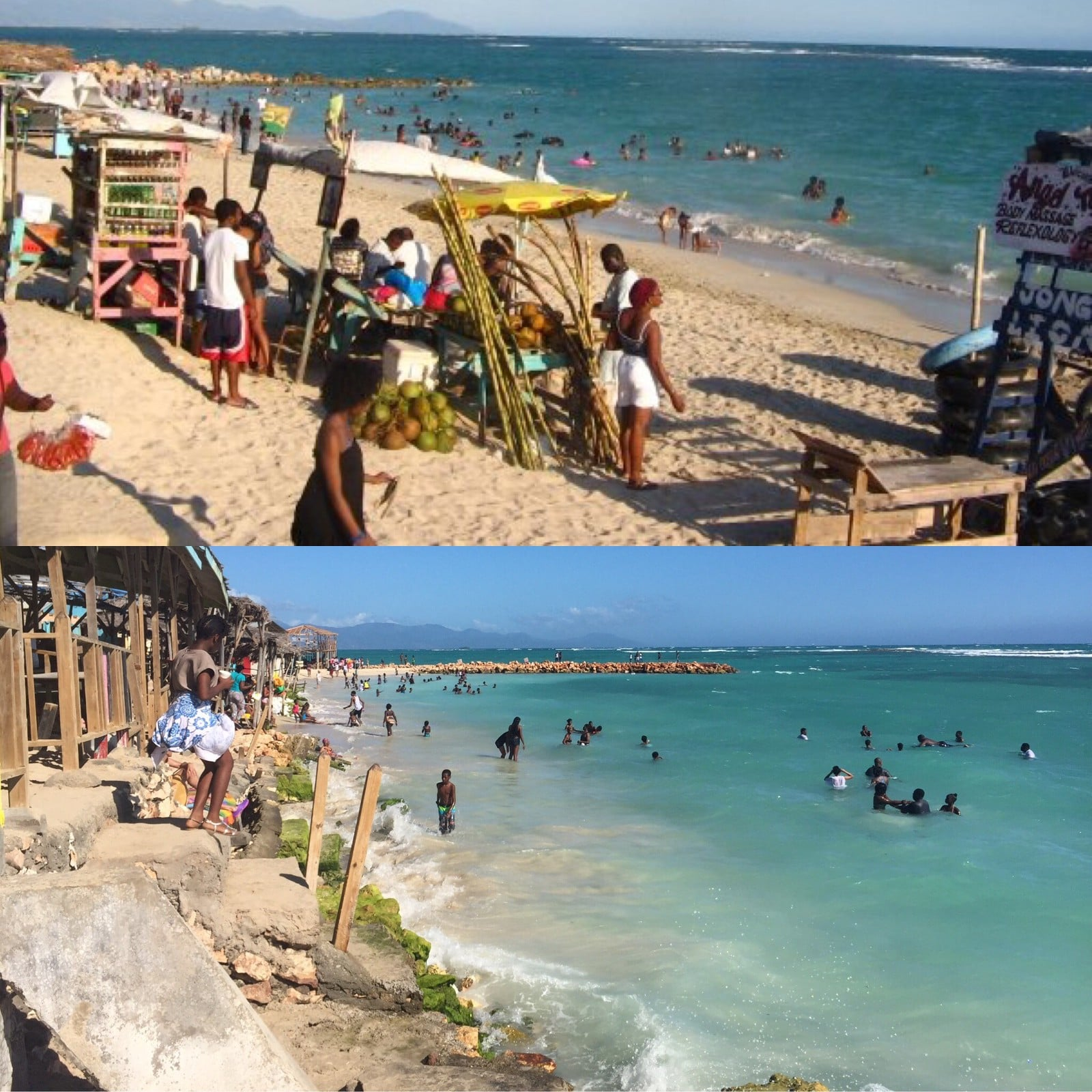 Top, Hellshire Beach, January 2009, taken by Kamilah Taylor. Bottom, Hellshire Beach, January 2016, taken by  Gabrielle Taylor . Both photos taken at Prendy's.