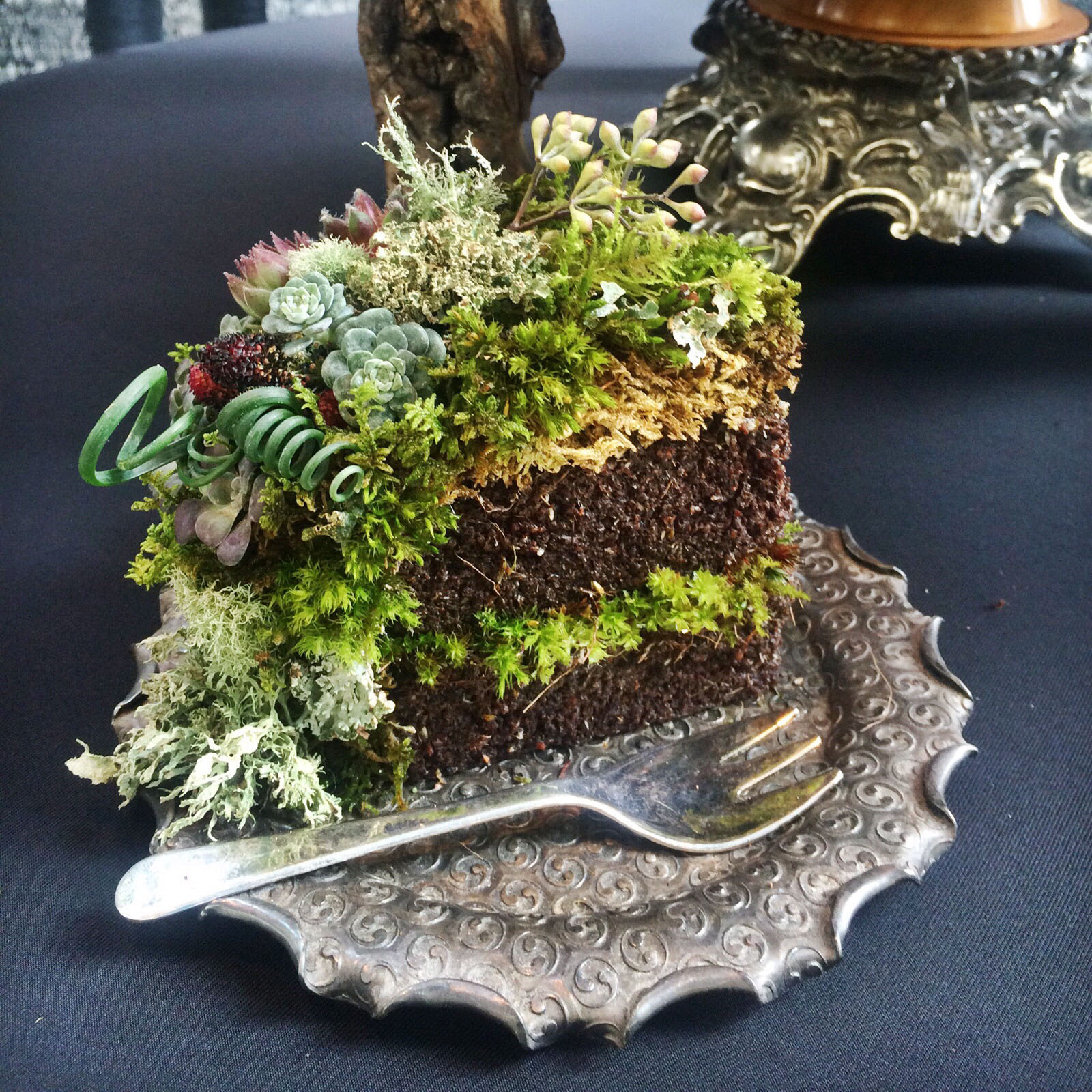 The original Woodland Wedding Cake slice at the Northwest Flower & Garden Show