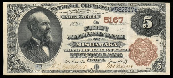 Currency from the First National Bank of Mishawaka printed 1898 and signed by M.V. Beiger, one of the banks founders.