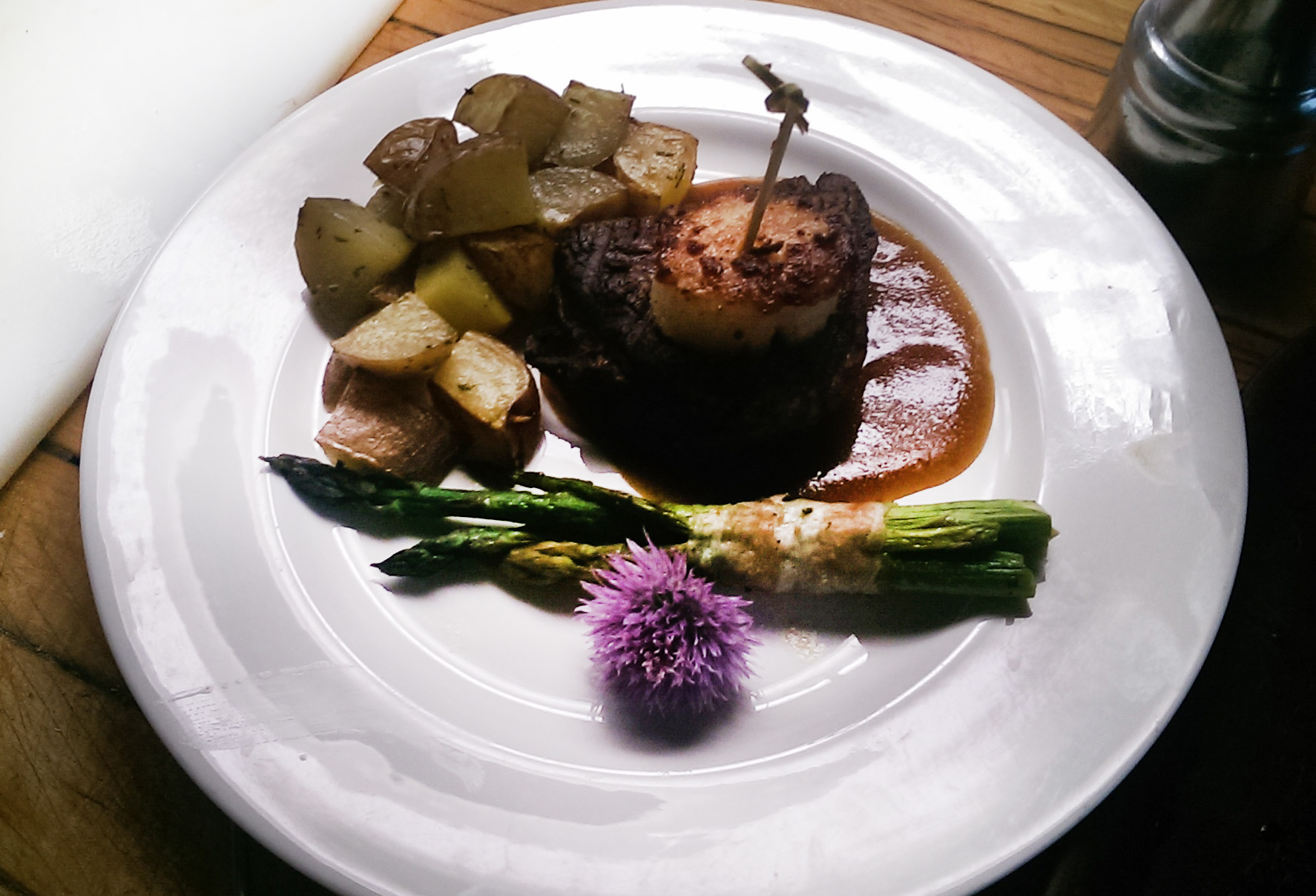 Filet and Seared Scallop Surf and Turf with Prosciutto Wrapped Asparagus and Roasted Potatoes