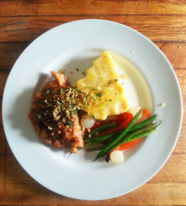 Chicken Marsala with Rosemary (Christmas Tree) Polenta and Seasoned Vegetables