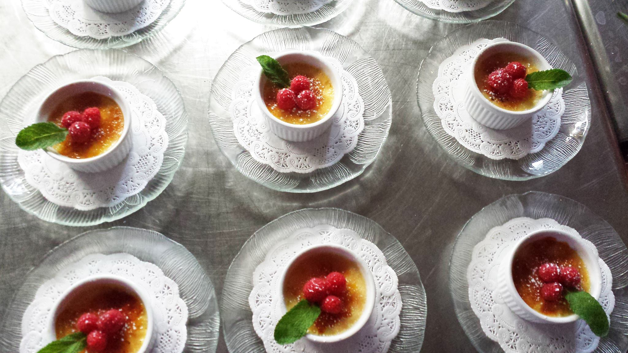 Creme Brulee with Orange Liqueur and Raspberries