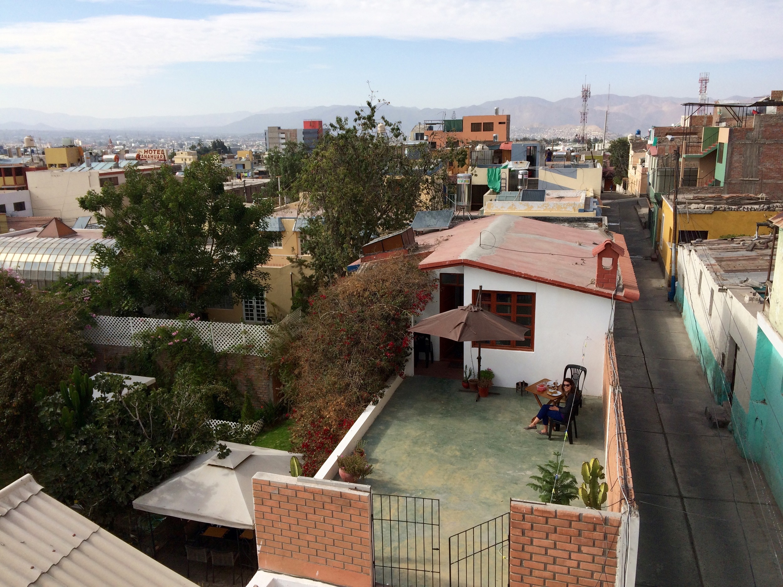 Looking down on our house. Garden to the left, Calle Zela to the right.