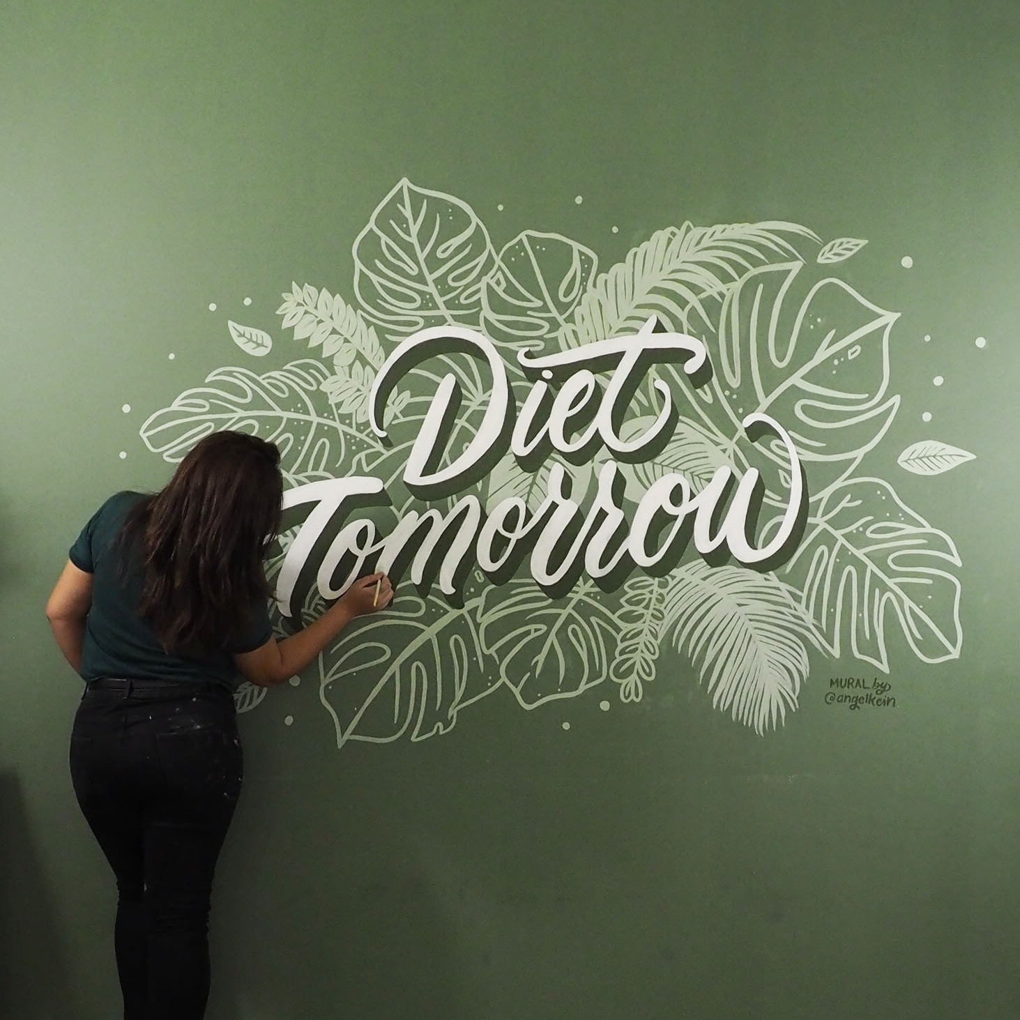 Mural for 51 Hometel, a hotel and cafe in Thailand.