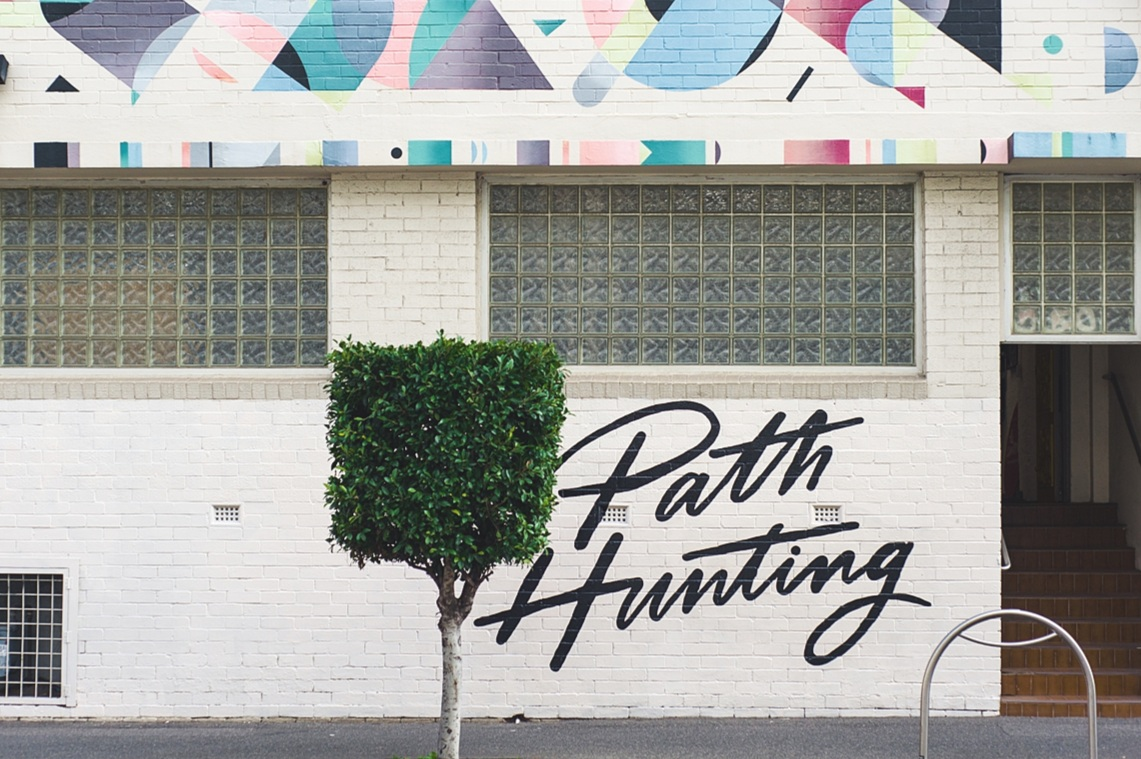 Lettering logo for Path Hunting, coworking space in Melbourne.