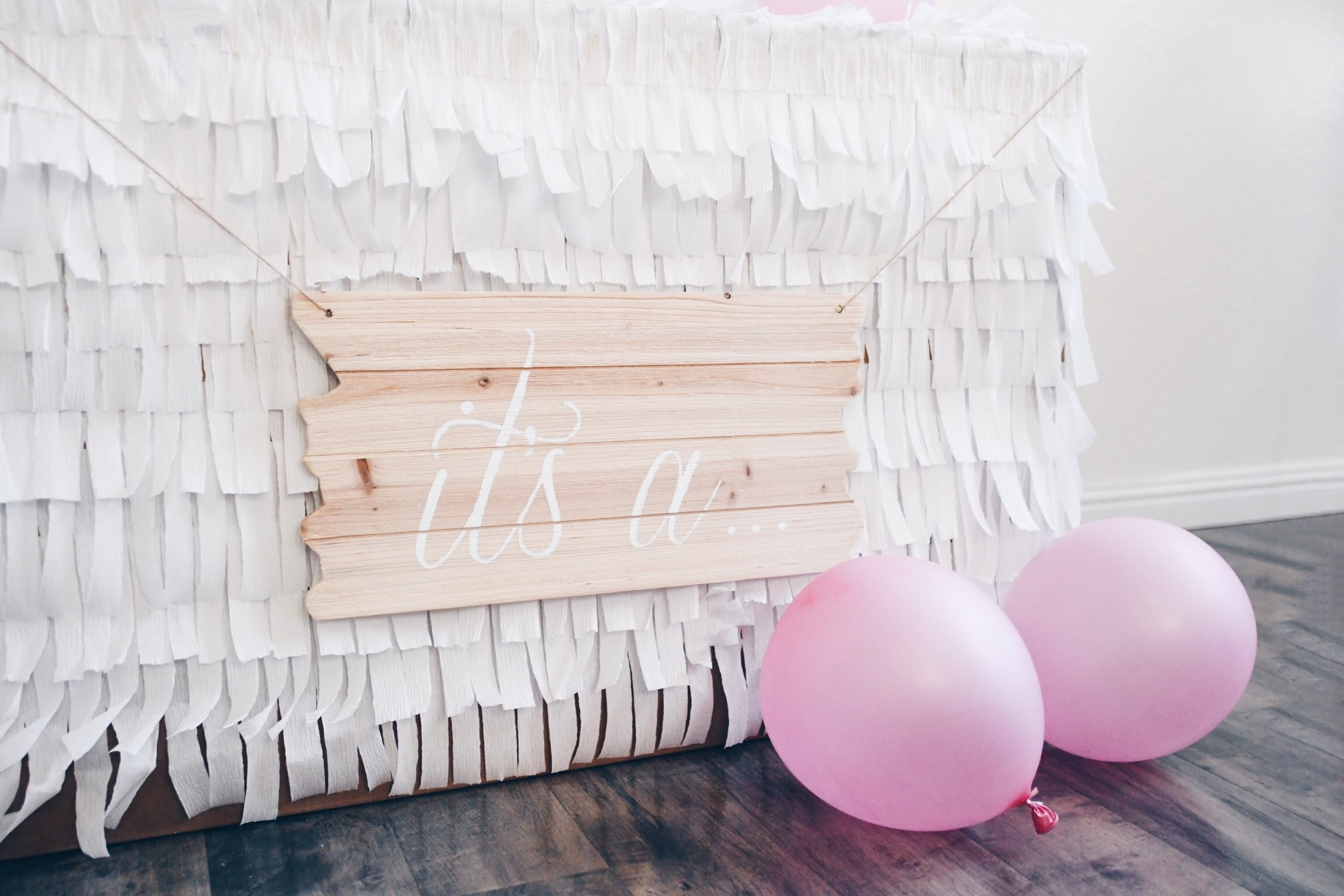 Gender Reveal Calligraphy Wood Sign