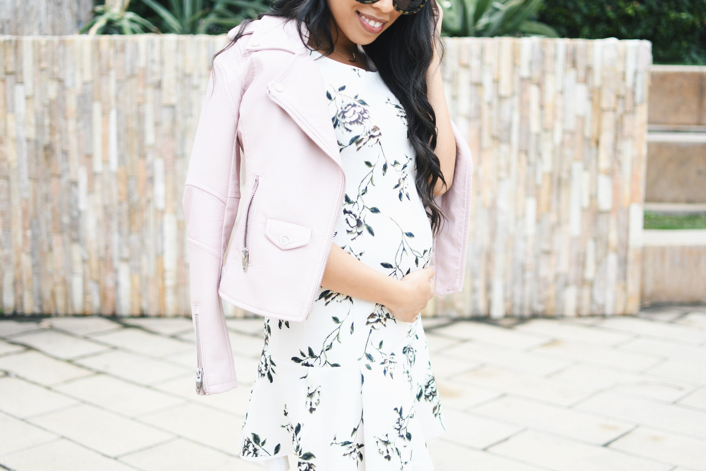 A Floral Drop Waist Dress + Pink Faux Leather Jacket
