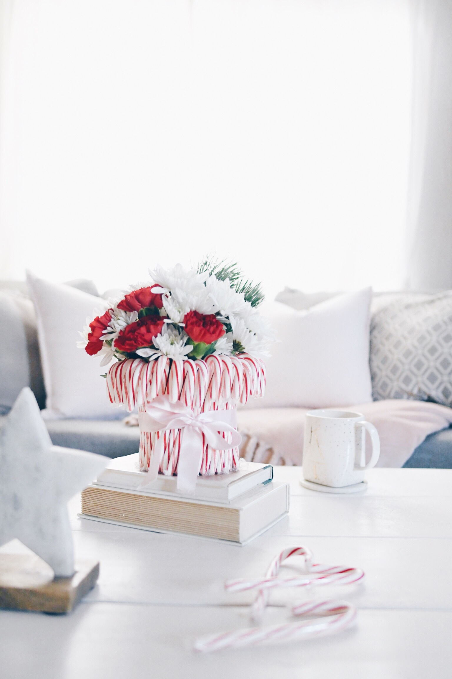 Candy Cane Holiday Floral Vase