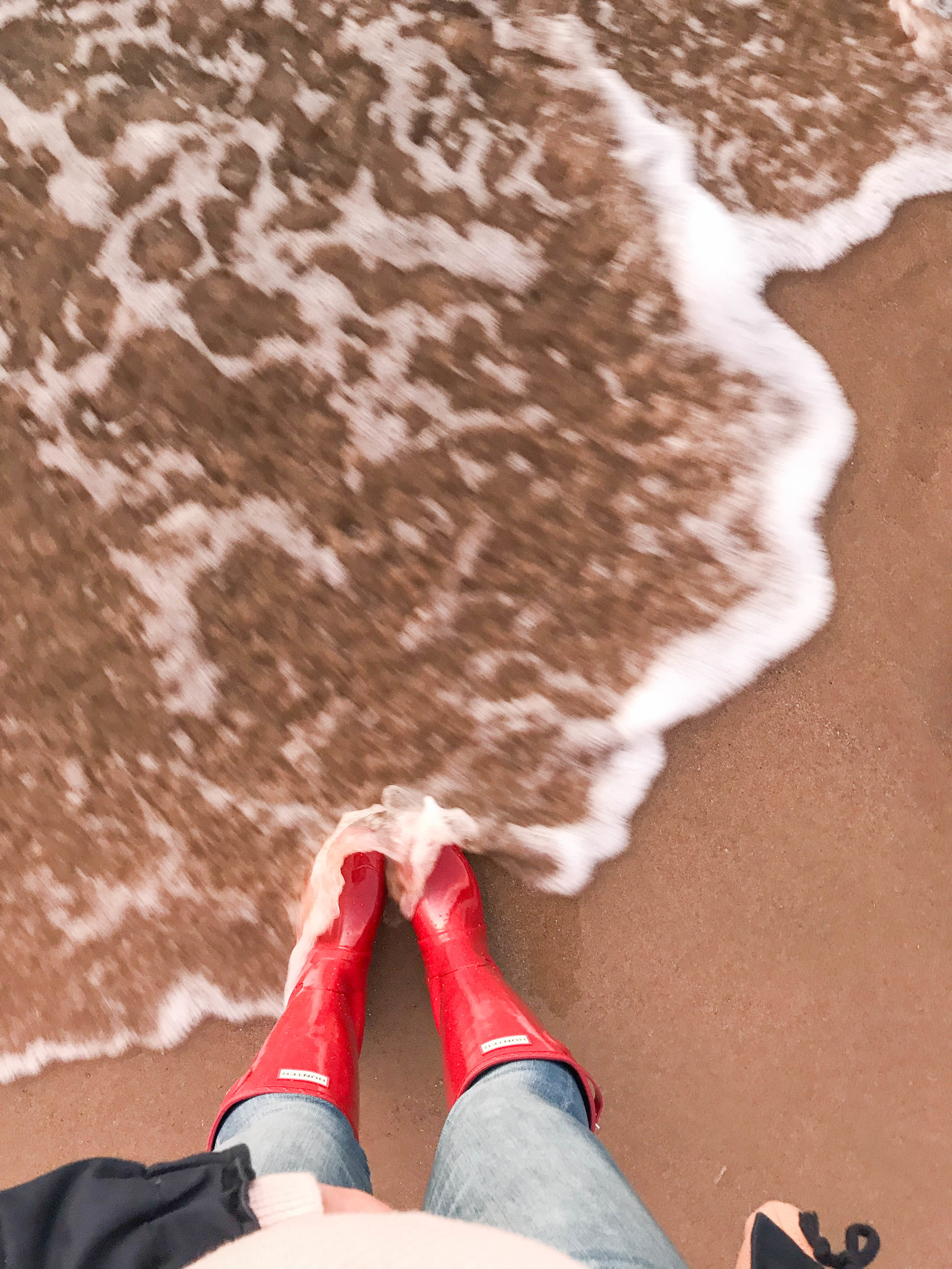 Winter Beach Day | Red Hunter Boots