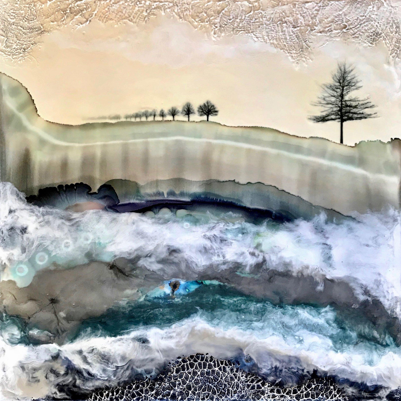 van horne, Winter Trees, encauastic mixed media, 24x24, $1000.jpg