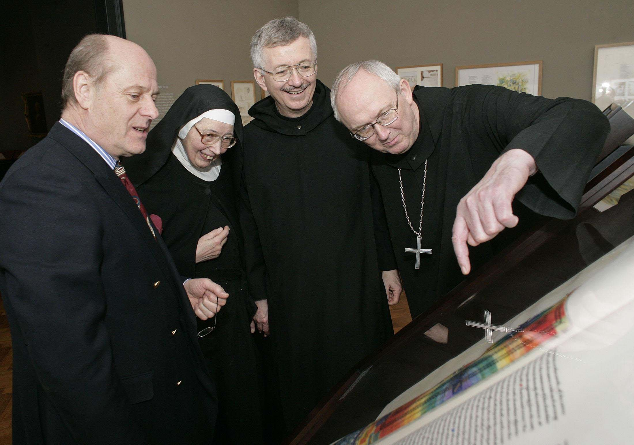 [At the V & A:(L to R) Donald Jackson, Sister Wendy, Brother Dietrich, Abbot John]