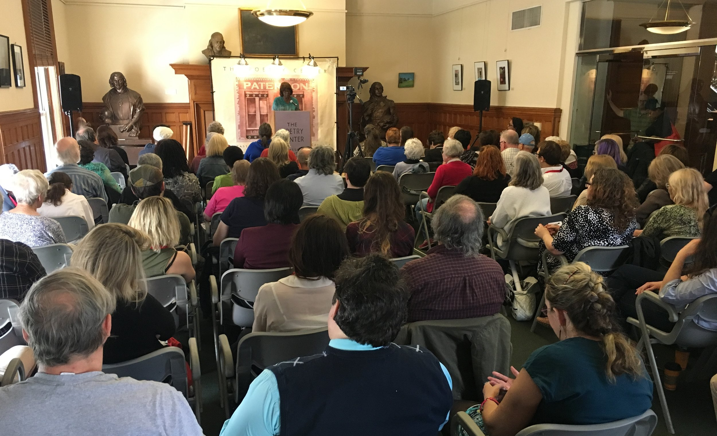 Patricia Smith, a featured poet at the festival, reads to a full house at the Hamilon Club.     Additional photos from the event are in our    gallery