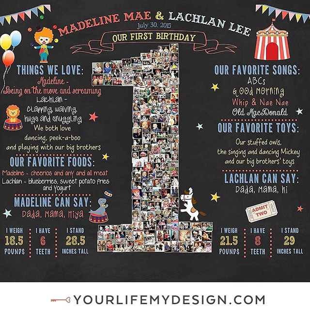 Madeline & Lachlan are #twins celebrating their #firstbirthdayparty with this #carnival & #circus theme #party 16x20 with 153 pics COLLAGE DESIGN BY: #yourlifemydesign on #etsy #etsyfinds #birthdaylove #birthdaydecor #birthdayparty  #birthdaydecor #boygirltwins #twinlove #birthdayboy #birthdaygirl #twinsies gift #instababy #picoftheday #photocollage #twinning #custom #firsts #firstbirthday  #decorating #cumpleanos #kidsparty #igbabies #coolkidsparties #partyplanner