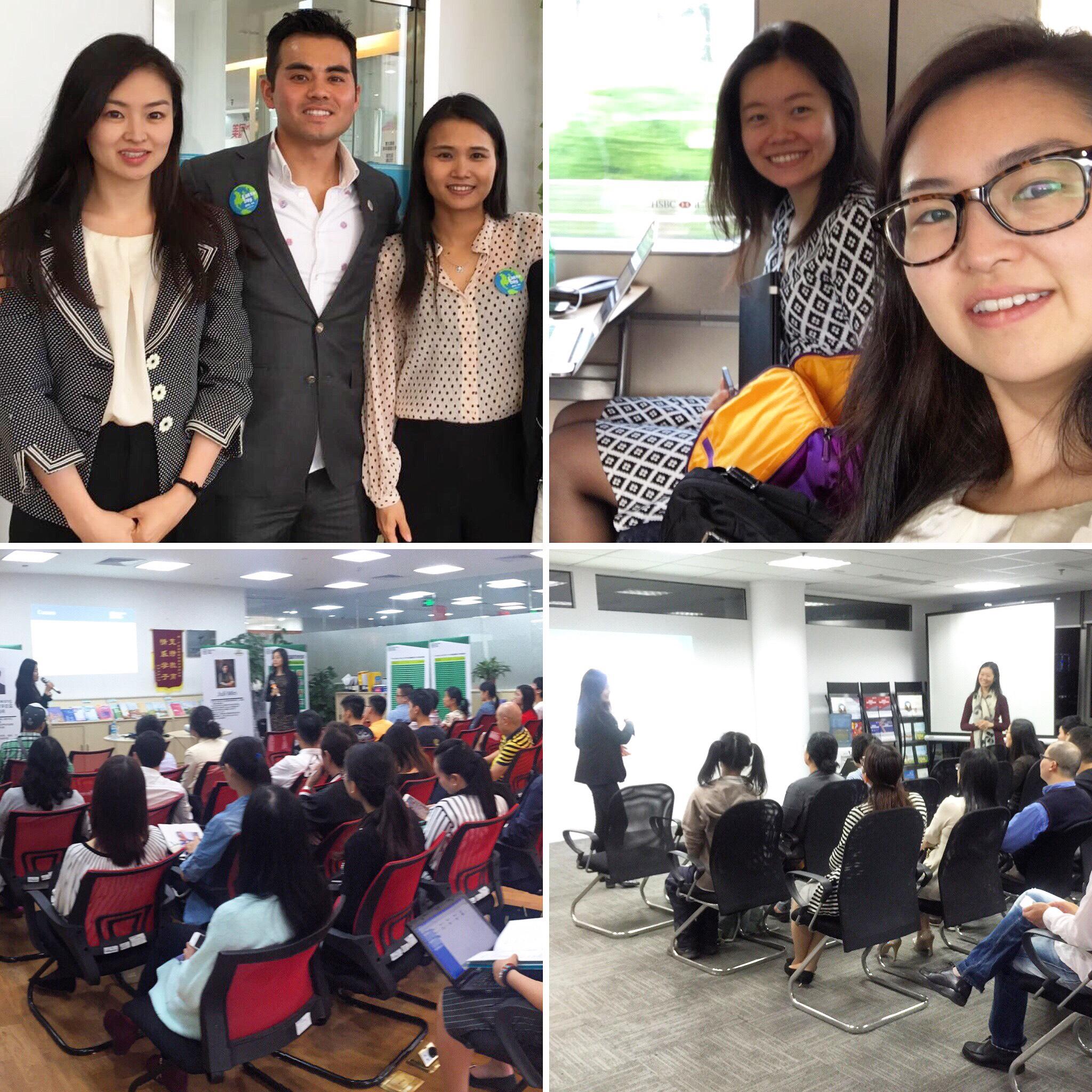 From top left, clockwise: Shenzhen team, train ride, Guangzhou lecture, Hangzhou lecture