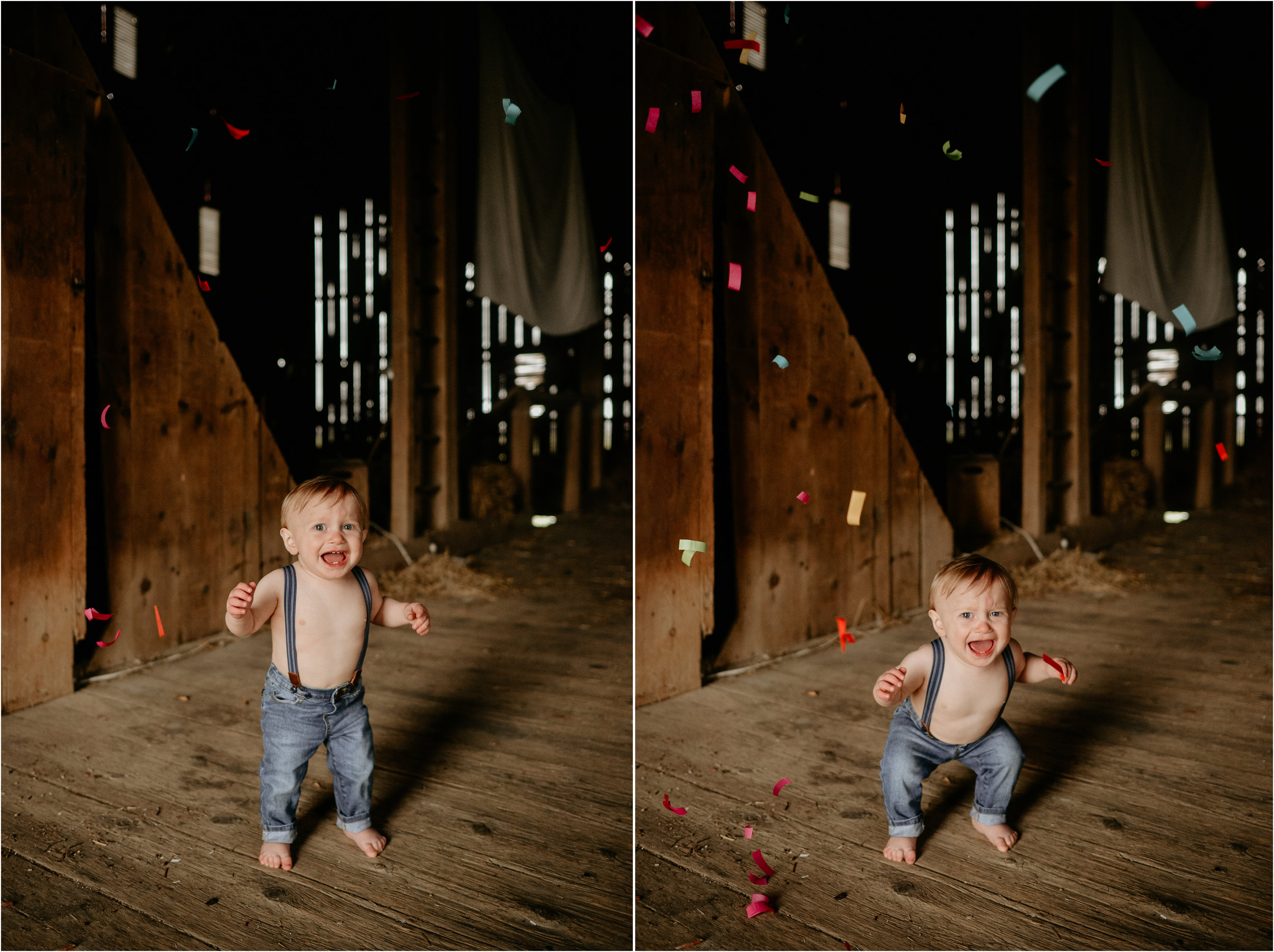 "I totally shouldn't laugh at this but LOL! When Maranda brought this HUGE confetti popper I was pumped! I was for sure it would be so much fun for Griffin BUT it didn't go as planned at first LOL! We shot the popper and the sound was so loud it freaked Griffin out and caused him to cry and run away from us lol. Then to find out the label said ""Don't shoot at humans""... at this point Maranda and I were dying laughing... poor Griffin. Don't worry though, as you can tell in the photos below he actually ended up loving the confetti!"