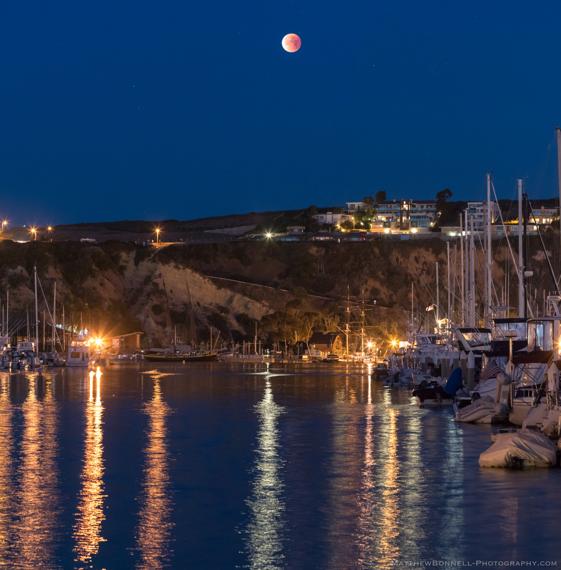 Blood Moon over Dana Point Harbor